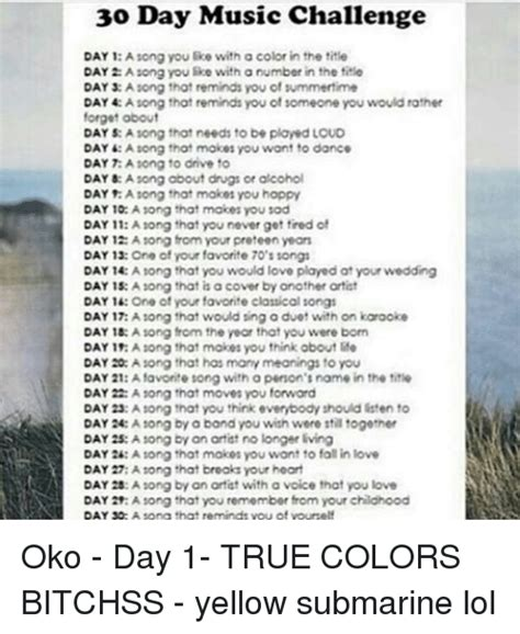 30 day song challenge 2015 day 25 the platter 30 day music challenge day 1 a song you with a color in
