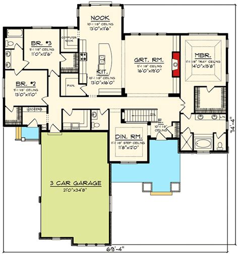ranch floor plans with great room ranch plan with large great room 89918ah architectural