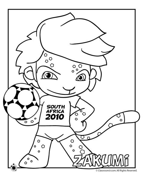 2010 World Cup Mascot Coloring Page Zakumi Woo Jr World Cup Coloring Pages