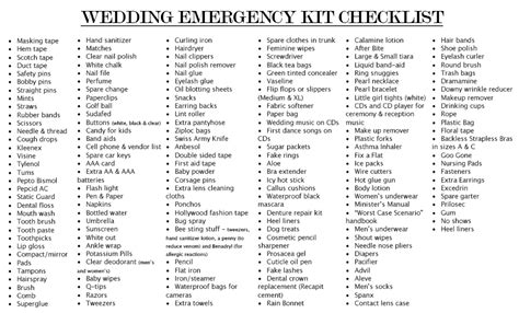 Wedding Emergency Checklist Kit by Photography Tips For Photographers And Posing Guides