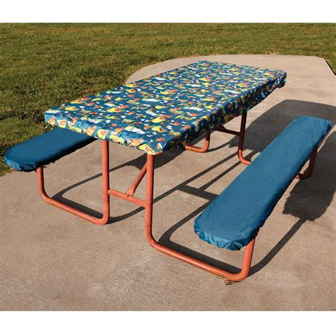 picnic bench cover cfire picnic tablecloth and seat covers direcsource