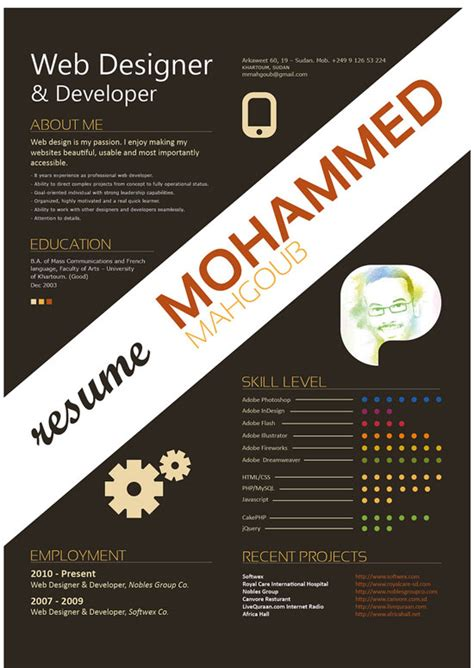 Resume Graphic Design Inspiration 30 Exles Of Creative Graphic Design Resumes Infographics