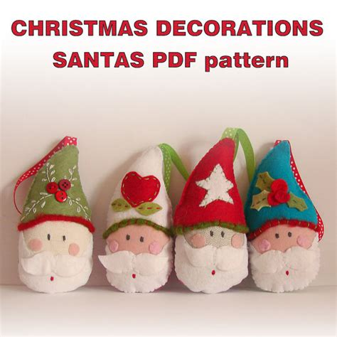 pdf pattern felt christmas ornaments santas by roxycreations