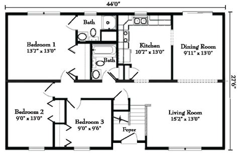 Floor Plan Of 4 Bedroom House by Ranch Style Modular Homes From Gbi Avis