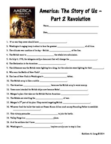America The Story Of Us Rebels Worksheet by America The Story Of Us Vid By Teachers Pay Teachers