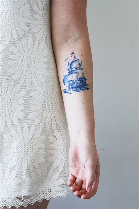 blue henna tattoo delft blue ship temporary tattoos by tattoorary