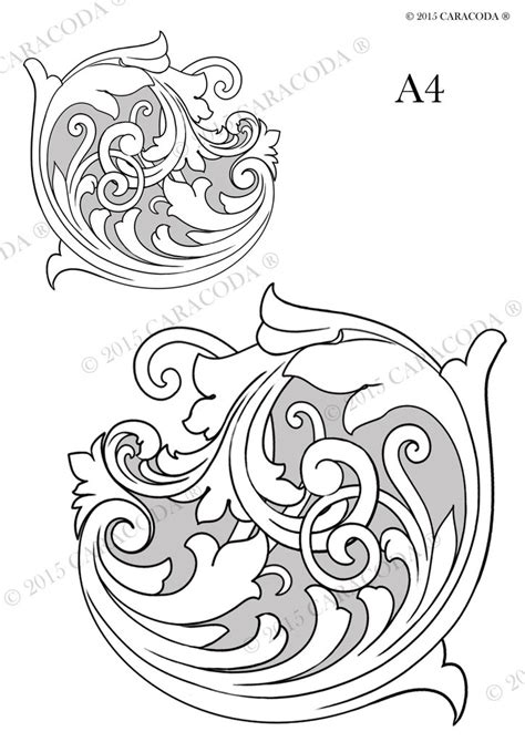printable engraving templates leathercraft tooling pattern scroll a4 001 your