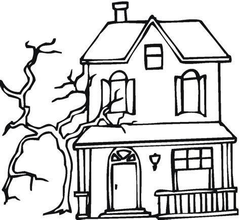 a coloring page of a house free printable haunted house coloring pages for kids