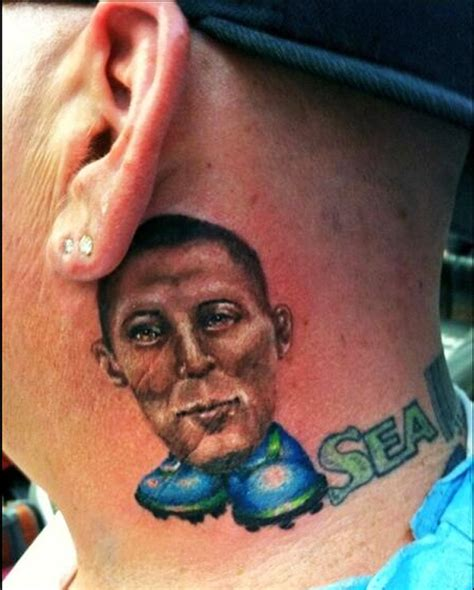 felix hernandez tattoo mad seattle sounders fan gets clint dempsey neck