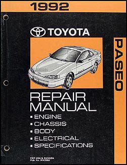 1992 toyota paseo repair shop manual original