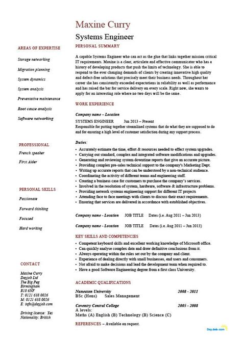 System Engineer Resume systems engineer resume exle sle it security