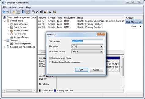how format cd partition hard disk using disk management