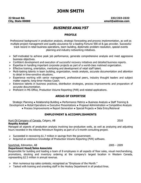 Resume Exles For Business Business Analyst Resume Template Premium Resume Sles Exle