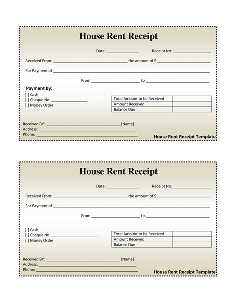 Template S For Paid Receipts by Free House Rental Invoice House Rent Receipt Template