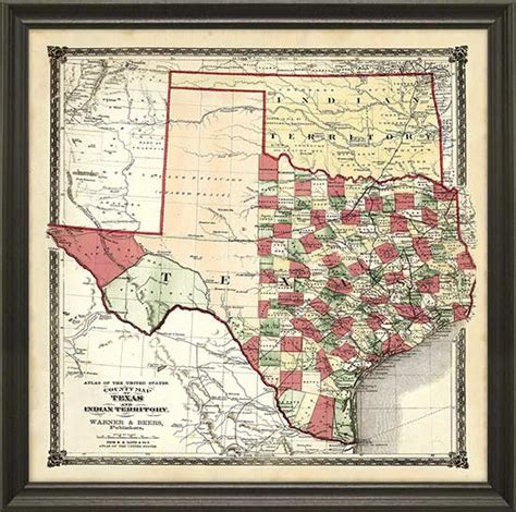framed texas maps framed vintage maps