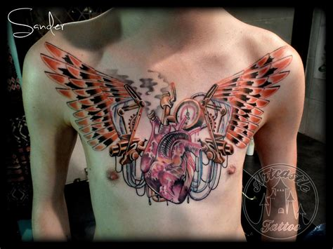 sly cooper tattoo steunk chestpiece done by sander valentijn