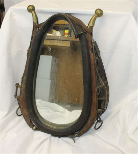 bargain johns antiques mirror  leather horse collar