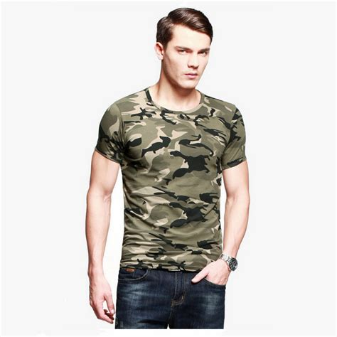 Camouflage Print Crewneck T Shirt camouflage print army green crew neck s t shirt