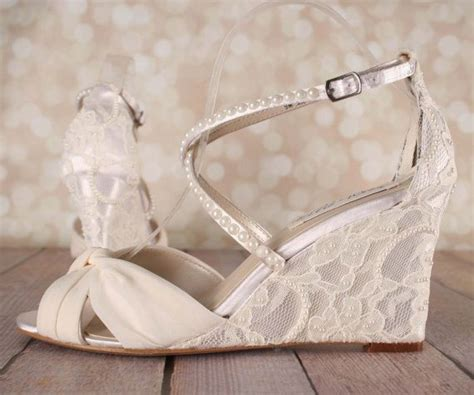 Lace Wedding Wedges by Ivory Wedding Shoes Lace Wedge Wedding By