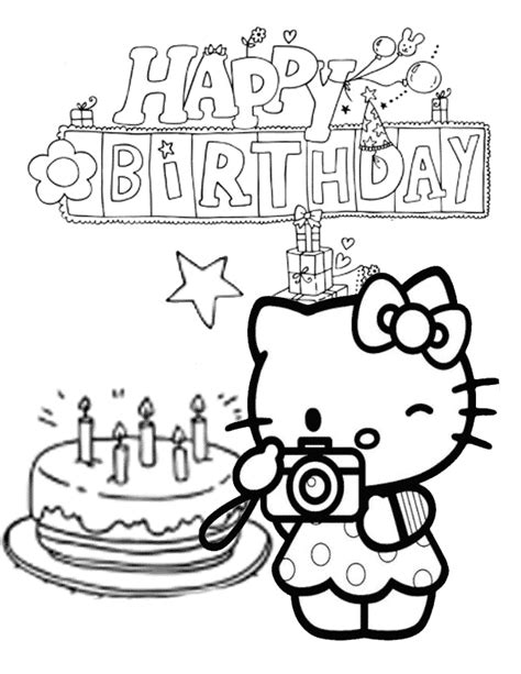 hello kitty cake and star birthday coloring page h m
