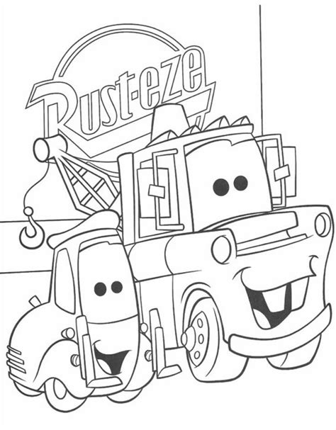 coloring pictures of mater from cars cars coloring pages