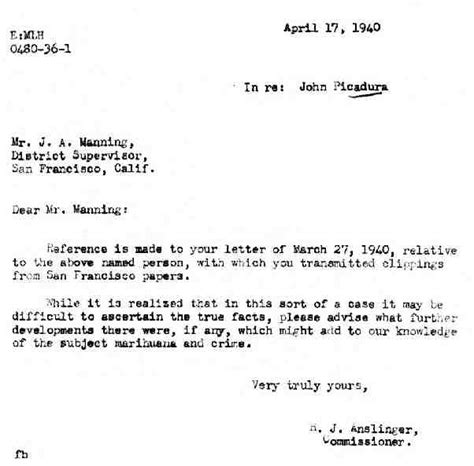 Cover Letter Re Meaning Anslinger S File The Oakland Ca