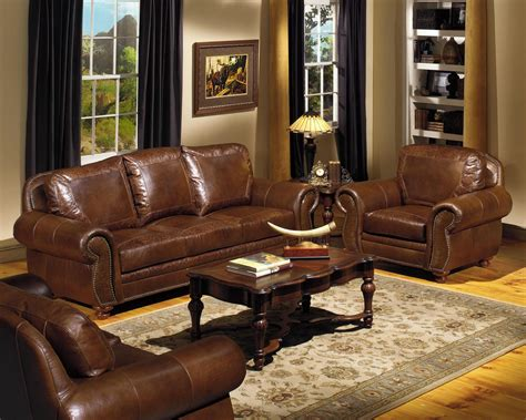 leather living room furniture sets clifford brown top grain leather match double power