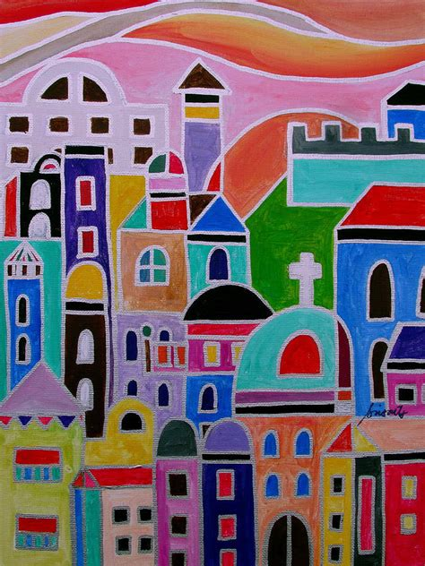 colorful modern mexican colorful town of guanajuato mexico painting by pristine