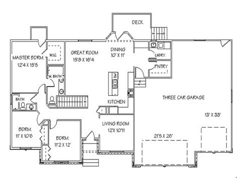 Open Floor Plans With Basement Single Story Open Floor Plans Ranch House Floor Plans With Basement House Plans No Garage