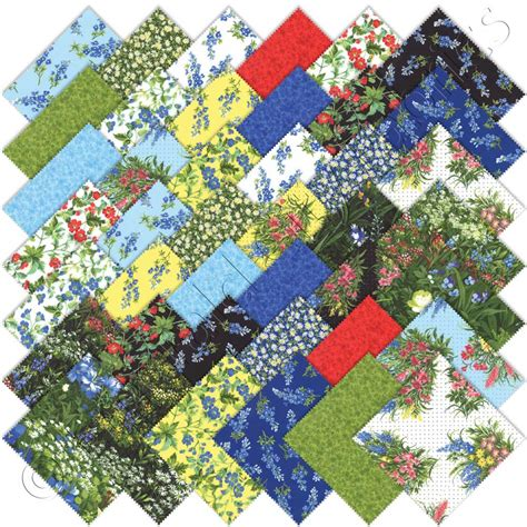 Quilt Fabrics by Moda Wildflowers Vii Charm Pack Emerald City Fabrics