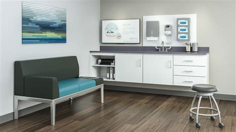sinking couch folio healthcare exam room cabinets storage steelcase