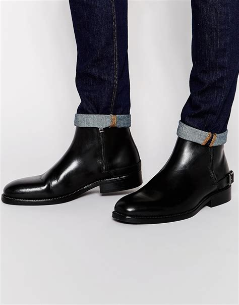 aldos boots for lyst aldo bellisio leather zip boots in black for