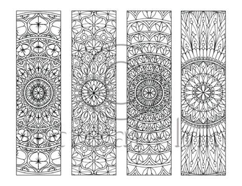 printable mandala bookmarks 4 mandala colouring bookmarks set 4 instant download