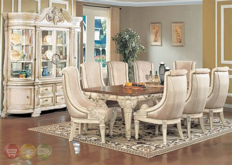 Antique White Dining Room Sets | halyn antique white formal dining room set with extension leaf