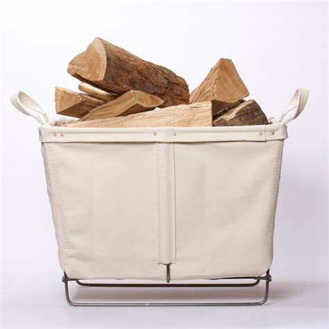 canvas log basket contemporary fireplace accessories