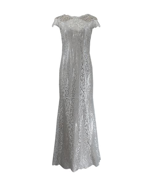 silver beaded gown marchesa beaded shoulder column gown in silver lyst