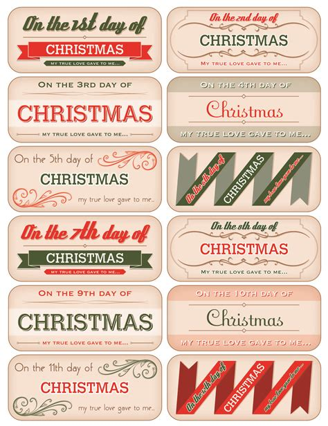 12 days of christmas gift tags 12 days of tag downloads november december 2012 paper crafts