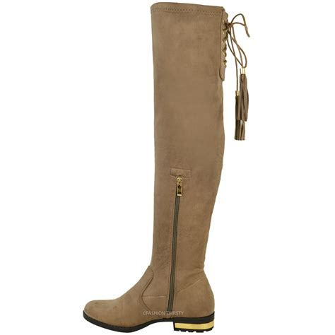womens the knee flat boots faux suede thigh