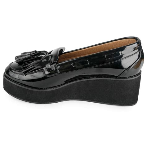 wedge heel loafers new platform black patent casual loafer womens