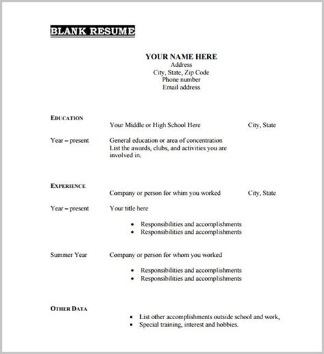 Free Printable Resume Template Blank Resume Resume Exles X0za211zjd Free Resume Templates To Print Out
