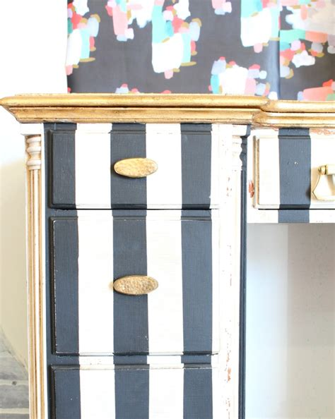 black white gold painted striped desk refunk my junk