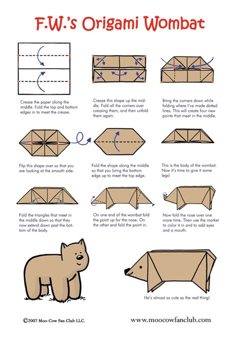 Printable For Origami - origami wombat printable version