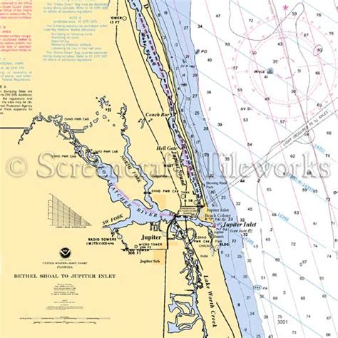 Kitchen Island Cutting Board Florida Jupiter Inlet Nautical Chart Decor