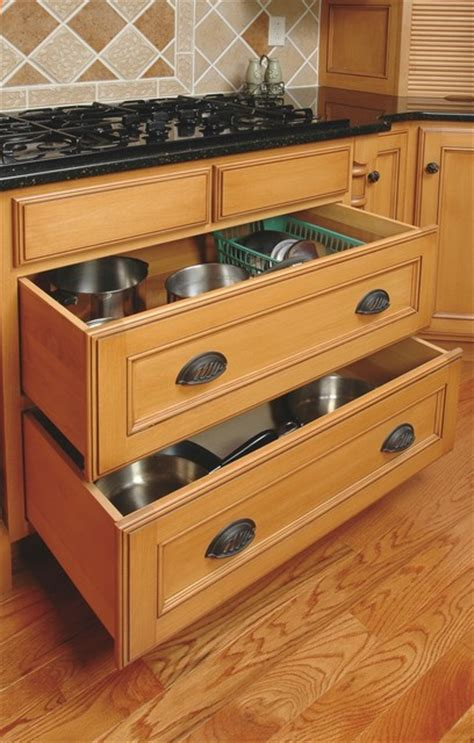 cooktop cookware drawers traditional kitchen