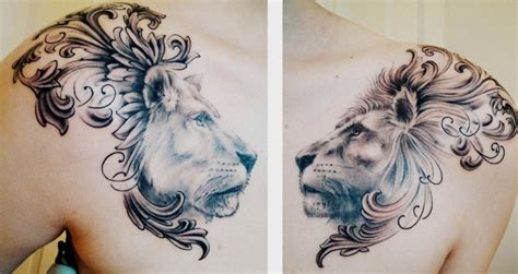 feminine lion tattoos and lioness chest done by matt cowell at house
