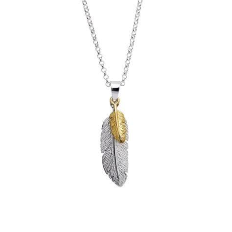 buy silver and gold plated feather pendant heritage