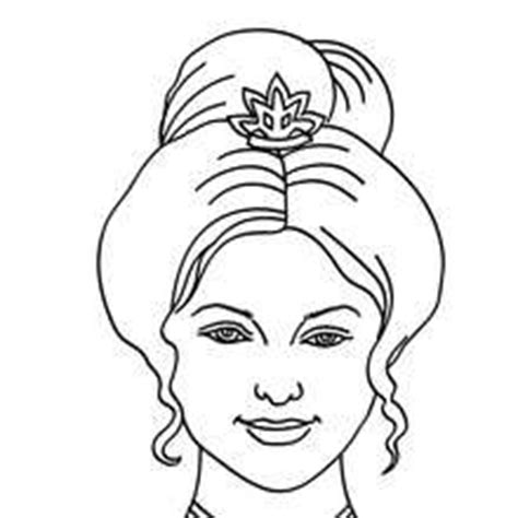 princess head coloring page princess head with twisted hair coloring pages hellokids com