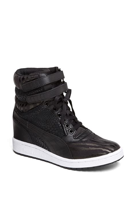 black sneaker wedge sky wedge reptile sneaker in black lyst