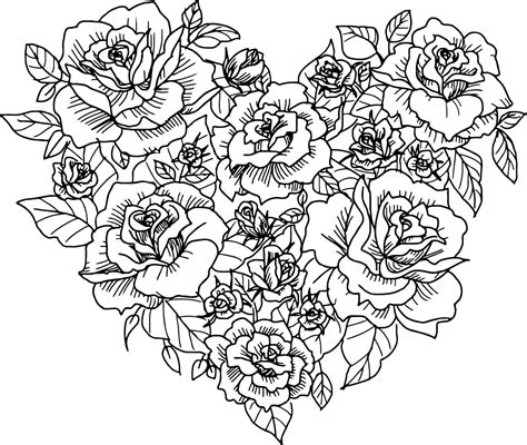 coloring pages heart and roses heart rose sketch coloring page wecoloringpage