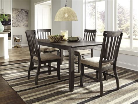 brown dining room table dresbar grayish brown rectangular dining room table 4 uph side chairs d485 25 01 4